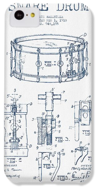 Drum iPhone 5c Case - Snare Drum Patent Drawing From 1910  - Blue Ink by Aged Pixel
