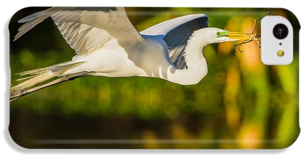 Snowy Egret Flying With A Branch IPhone 5c Case