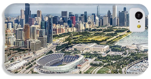 Helicopter iPhone 5c Case - Soldier Field And Chicago Skyline by Adam Romanowicz