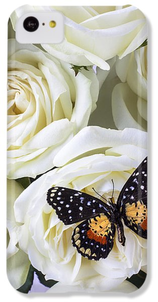 Rose iPhone 5c Case - Speckled Butterfly On White Rose by Garry Gay