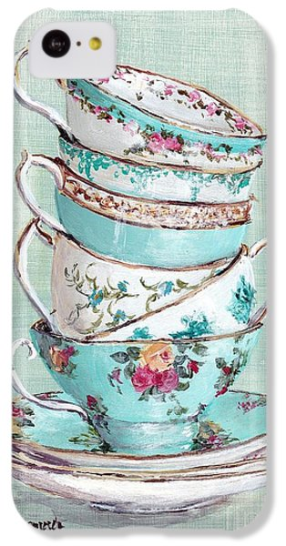 Stacked Aqua Themed Tea Cups IPhone 5c Case by Gail McCormack
