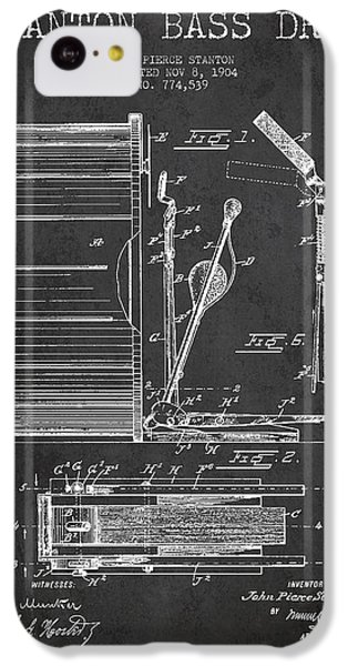 Drum iPhone 5c Case - Stanton Bass Drum Patent Drawing From 1904 - Dark by Aged Pixel