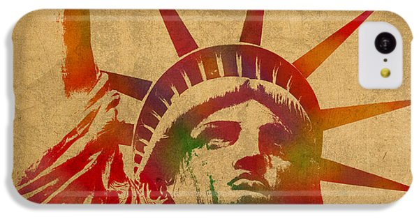 Statue Of Liberty Watercolor Portrait No 2 IPhone 5c Case by Design Turnpike