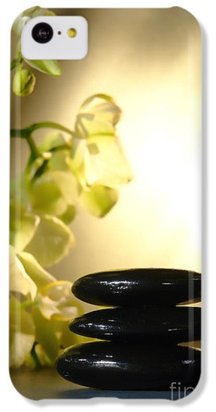 Orchid iPhone 5c Case - Stone Cairn And Orchids by Olivier Le Queinec