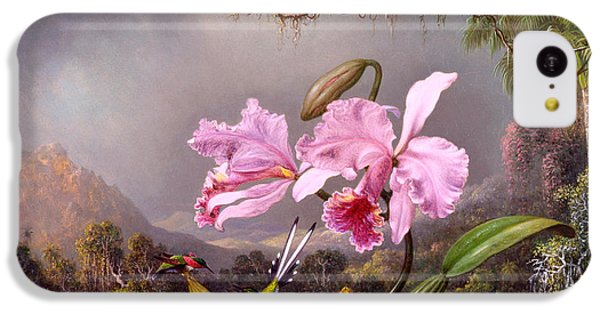 Humming Bird iPhone 5c Case - Study Of An Orchid by Martin Johnson Heade