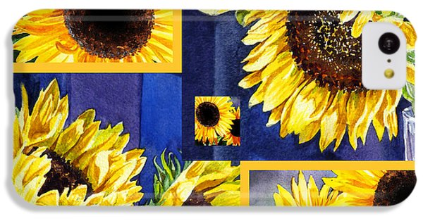 IPhone 5c Case featuring the painting Sunflowers Sunny Collage by Irina Sztukowski