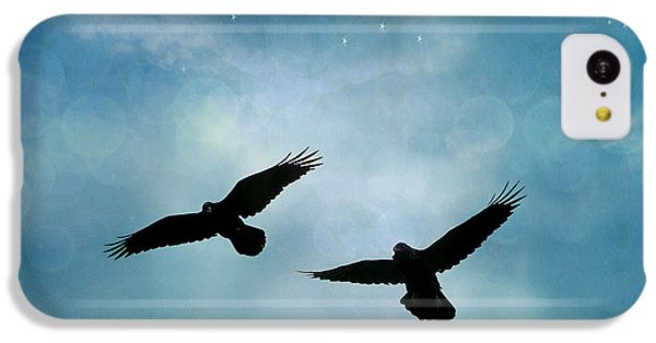 Surreal Ravens Crows Flying Blue Sky Stars IPhone 5c Case