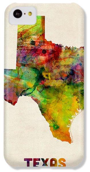 Universities iPhone 5c Case - Texas Watercolor Map by Michael Tompsett