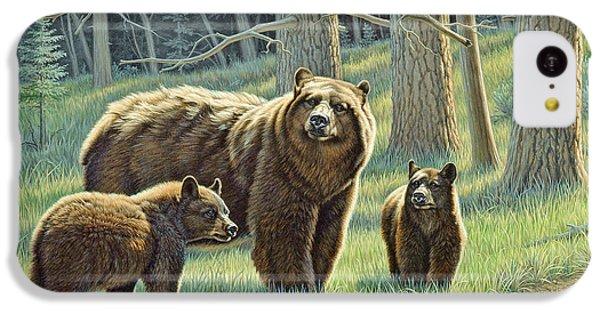 Bear iPhone 5c Case - The Family - Black Bears by Paul Krapf
