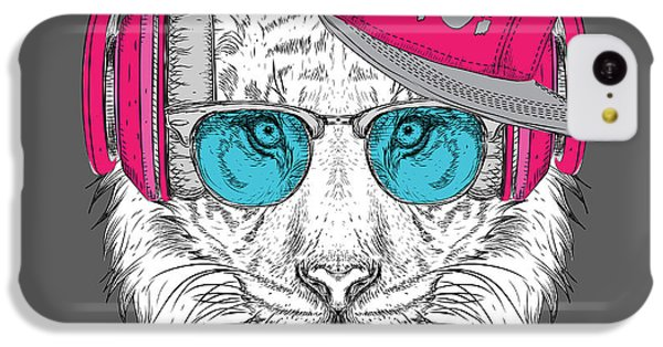 Sound iPhone 5c Case - The Image Of The Tiger In The Glasses by Sunny Whale