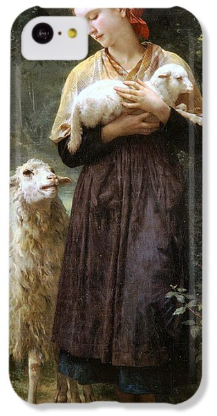 Sheep iPhone 5c Case - The Newborn Lamb by William Bouguereau