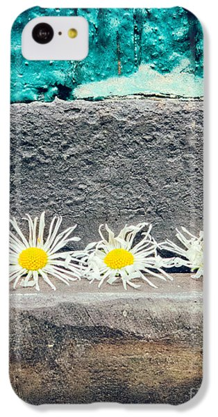 IPhone 5c Case featuring the photograph Three Daisies Stuck In A Door by Silvia Ganora