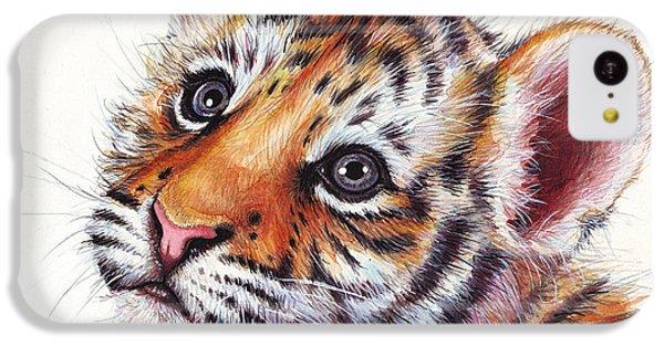 Tiger Cub Watercolor Painting IPhone 5c Case by Olga Shvartsur