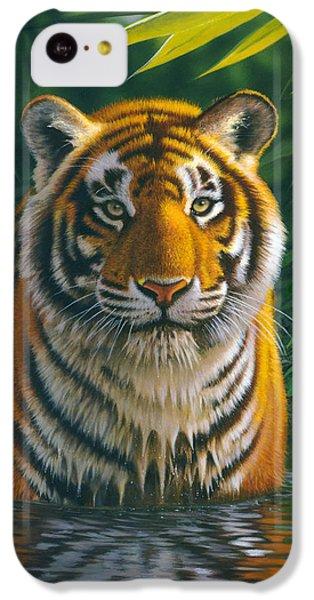 Tiger Pool IPhone 5c Case by MGL Studio - Chris Hiett