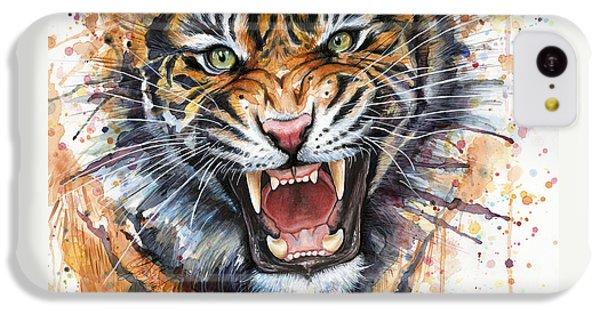 Tiger Watercolor Portrait IPhone 5c Case by Olga Shvartsur