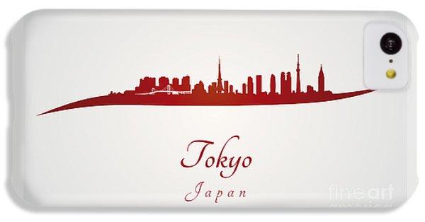 Tokyo Skyline In Red IPhone 5c Case by Pablo Romero
