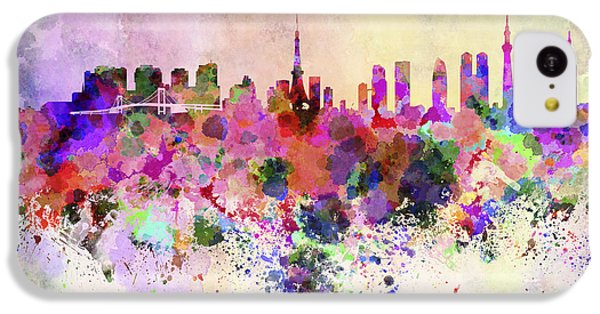 Tokyo Skyline In Watercolor Background IPhone 5c Case