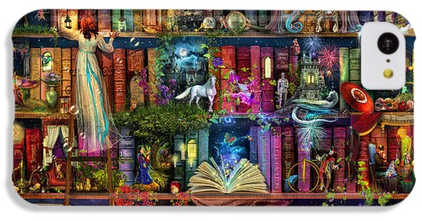 Fairy iPhone 5c Case - Fairytale Treasure Hunt Book Shelf by MGL Meiklejohn Graphics Licensing