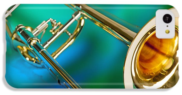 Trombone iPhone 5c Case - Trombone Against Green And Blue In Color 3204.02 by M K Miller