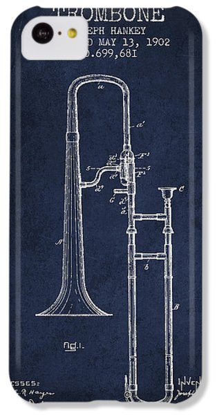 Trombone Patent From 1902 - Blue IPhone 5c Case by Aged Pixel