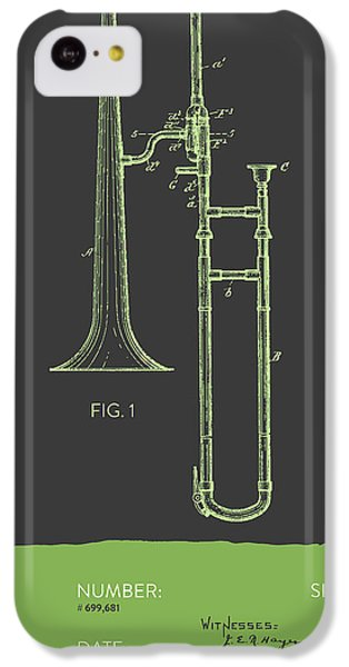 Trombone Patent From 1902 - Modern Gray Green IPhone 5c Case by Aged Pixel