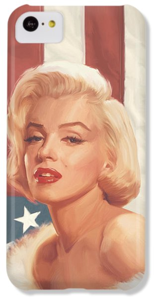Marilyn Monroe iPhone 5c Case - True Blue Marilyn In Flag by Chris Consani