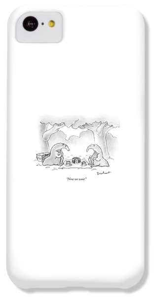 Ant iPhone 5c Case - Two Anteaters On A Picnic Wait For Ants To Come by David Borchart