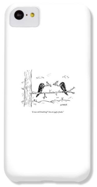 Buzzard iPhone 5c Case - Two Buzzards Sit And Talk On A Branch by David Sipress