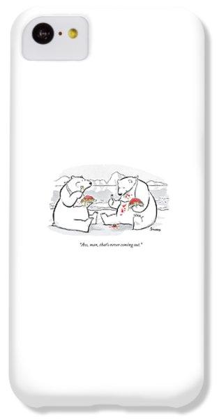 Polar Bear iPhone 5c Case - Two Polar Bears Eat Spaghetti And Meatballs.  One by Benjamin Schwartz