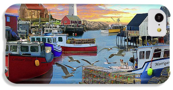 IPhone 5c Case featuring the drawing Uk Boat Cove by David M ( Maclean )