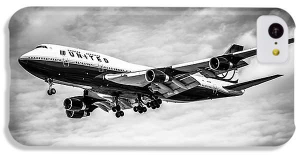 Airplane iPhone 5c Case - United Airlines Airplane In Black And White by Paul Velgos