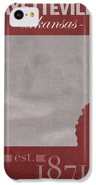 University Of Arkansas Razorbacks Fayetteville College Town State Map Poster Series No 013 IPhone 5c Case by Design Turnpike