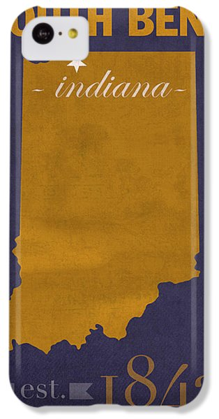 University Of Notre Dame Fighting Irish South Bend College Town State Map Poster Series No 081 IPhone 5c Case by Design Turnpike