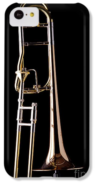 Trombone iPhone 5c Case - Upright Rotor Tenor Trombone On Black In Color 3465.02 by M K Miller