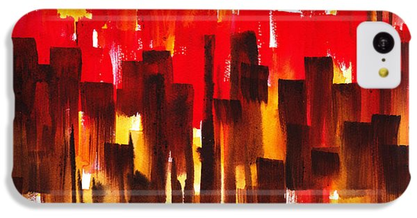 IPhone 5c Case featuring the painting Urban Abstract Glowing City by Irina Sztukowski