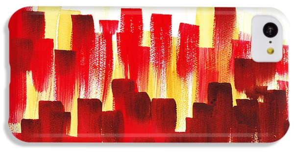 IPhone 5c Case featuring the painting Urban Abstract Red City Lights by Irina Sztukowski