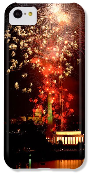 Capitol Building iPhone 5c Case - Usa, Washington Dc, Fireworks by Panoramic Images