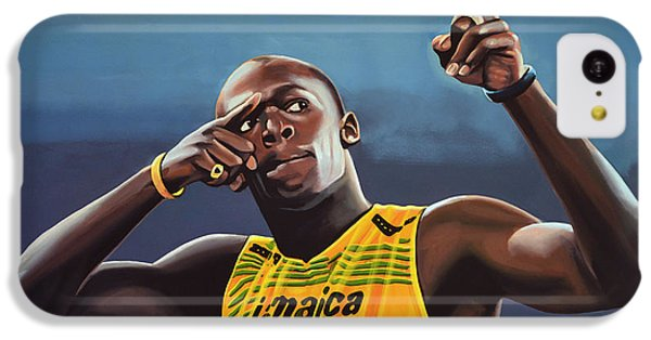 Portraits iPhone 5c Case - Usain Bolt Painting by Paul Meijering