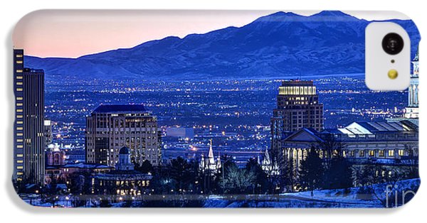 City Sunset iPhone 5c Case - Utah Capitol And Oquirrh Mountains Winter Sunset by Gary Whitton