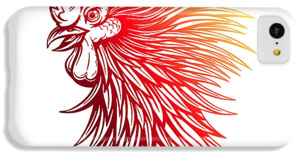 T Shirts iPhone 5c Case - Vector Red Rooster Head Illustration by Julia Waller
