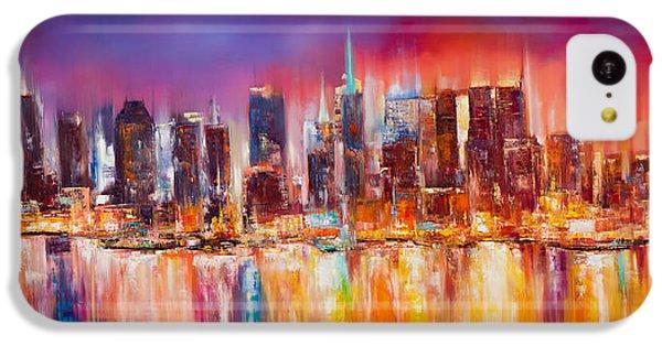 Broadway iPhone 5c Case - Vibrant New York City Skyline by Manit