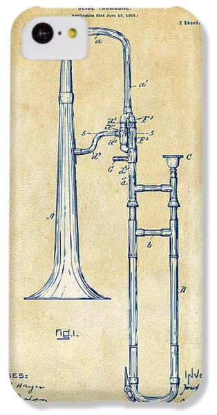 Trombone iPhone 5c Case - Vintage 1902 Slide Trombone Patent Artwork by Nikki Marie Smith