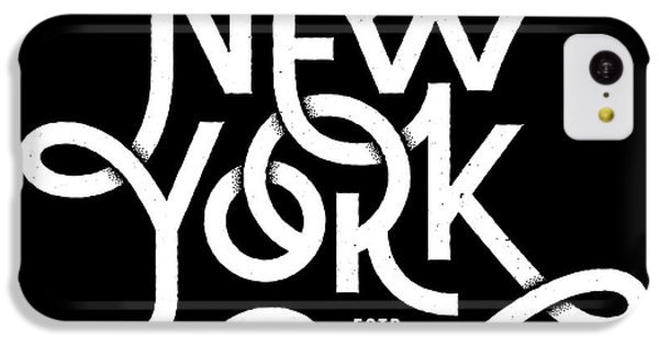T Shirts iPhone 5c Case - Vintage Hand Lettered Textured New York by Tortuga