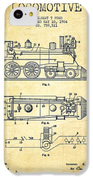 Vintage Locomotive Patent From 1904 - Vintage IPhone 5c Case by Aged Pixel