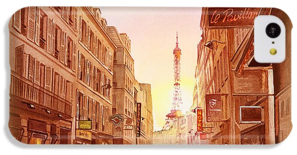 IPhone 5c Case featuring the painting Vintage Paris Street Eiffel Tower View by Irina Sztukowski