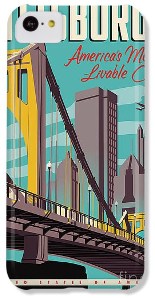 Vintage Style Pittsburgh Travel Poster IPhone 5c Case