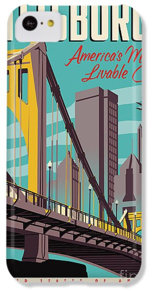 Airplane iPhone 5c Case - Vintage Style Pittsburgh Travel Poster by Jim Zahniser