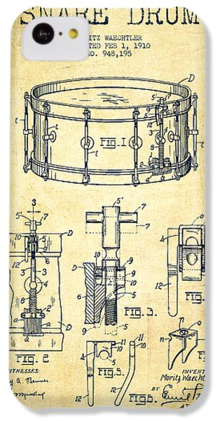 Drum iPhone 5c Case - Waechtler Snare Drum Patent Drawing From 1910 - Vintage by Aged Pixel
