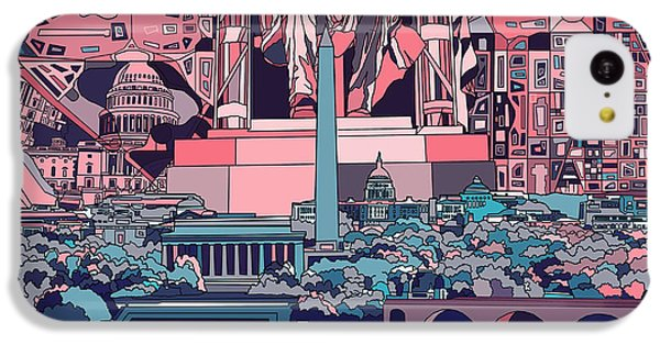 Lincoln Memorial iPhone 5c Case - Washington Dc Skyline Abstract 2 by Bekim Art
