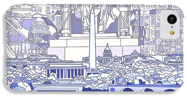 Lincoln Memorial iPhone 5c Case - Washington Dc Skyline Abstract 3 by Bekim Art